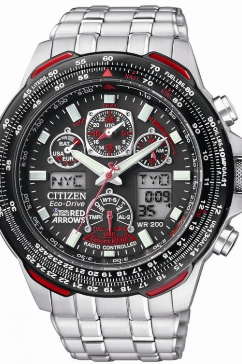 Mens Citizen Skyhawk AT Red Arrows Alarm Chronograph Radio Controlled Eco-Drive Watch JY0100-59E